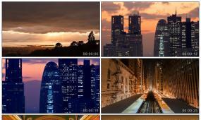 繁华都市夜景夕阳地铁影视高清实拍视频素材