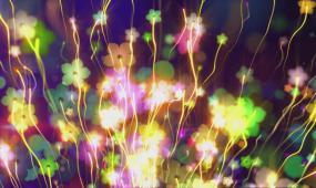 创意奇幻花朵游动光效线条缤纷美丽场景视觉冲击
