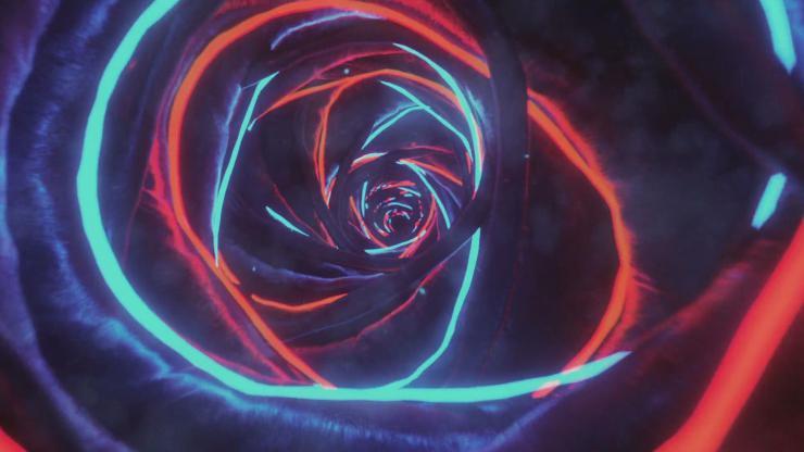 洞穴时空穿梭光效线性炫酷变幻霓虹灯光隧道