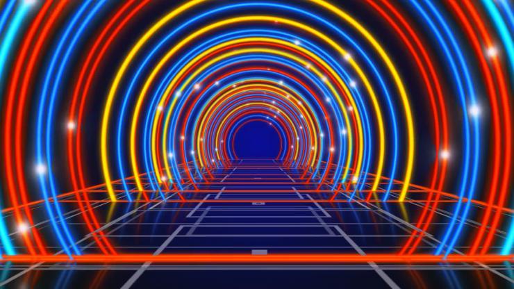 霓虹拱形光线粒子晚会劲舞舞台4分钟LED背景