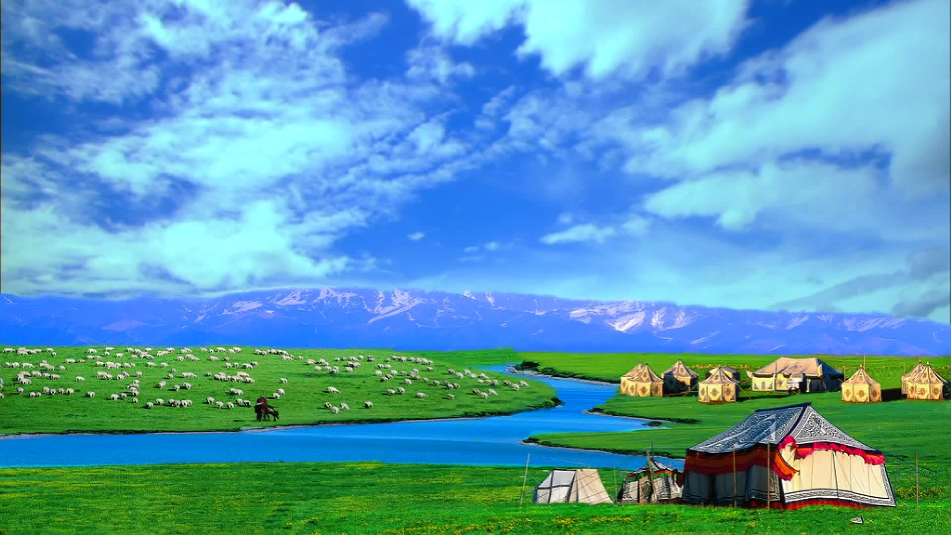 高清蓝天白云草原蒙古包晚会歌舞4分钟LED背景