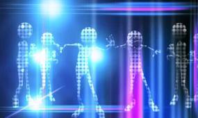 跳动的虚拟人物外星人光影节奏动感灯光