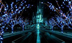 梦幻古堡灯光闪烁视频素材