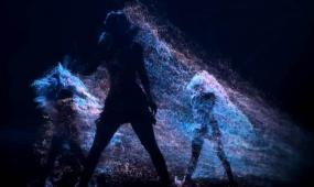 動感舞蹈人影粒子飄散背景素材