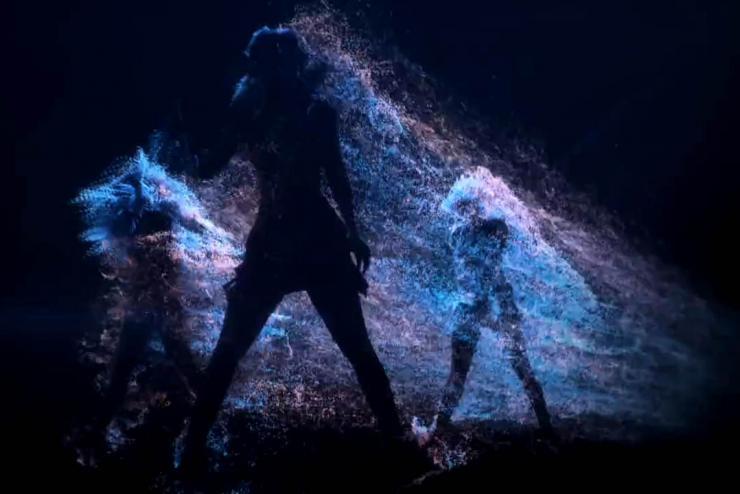 动感舞蹈人影粒子飘散背景素材
