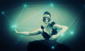 手指舞蹈 空间 粒子 线条 光效 闪动 全息投影