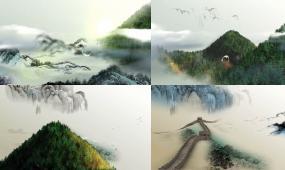 水墨风景 水墨 山水 国画 中国画 山水画 飞鸟 长城