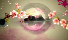 大氣暈染水墨花開山水水墨視頻素材