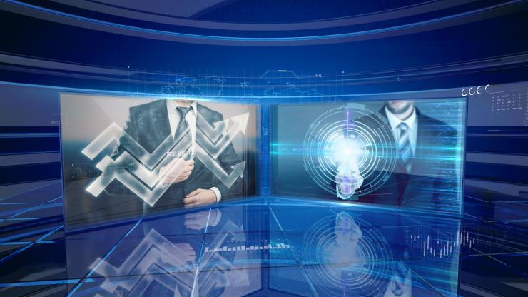 三维玻璃科技感互联网公司新闻图HUD AE模版