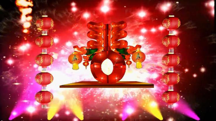 春节烟花灯笼视频素材