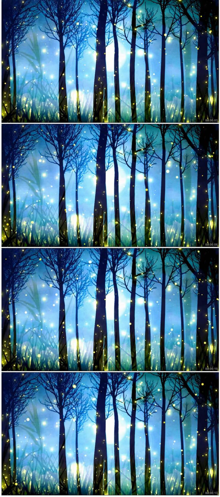 唯美梦幻森林粒子光效萤火虫舞台效果视频