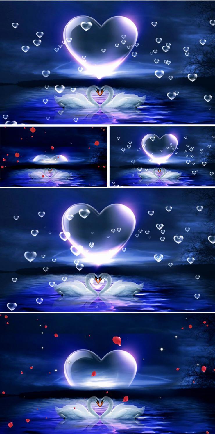 浪漫梦幻蓝色月亮心形粒子星空舞台背景天鹅湖