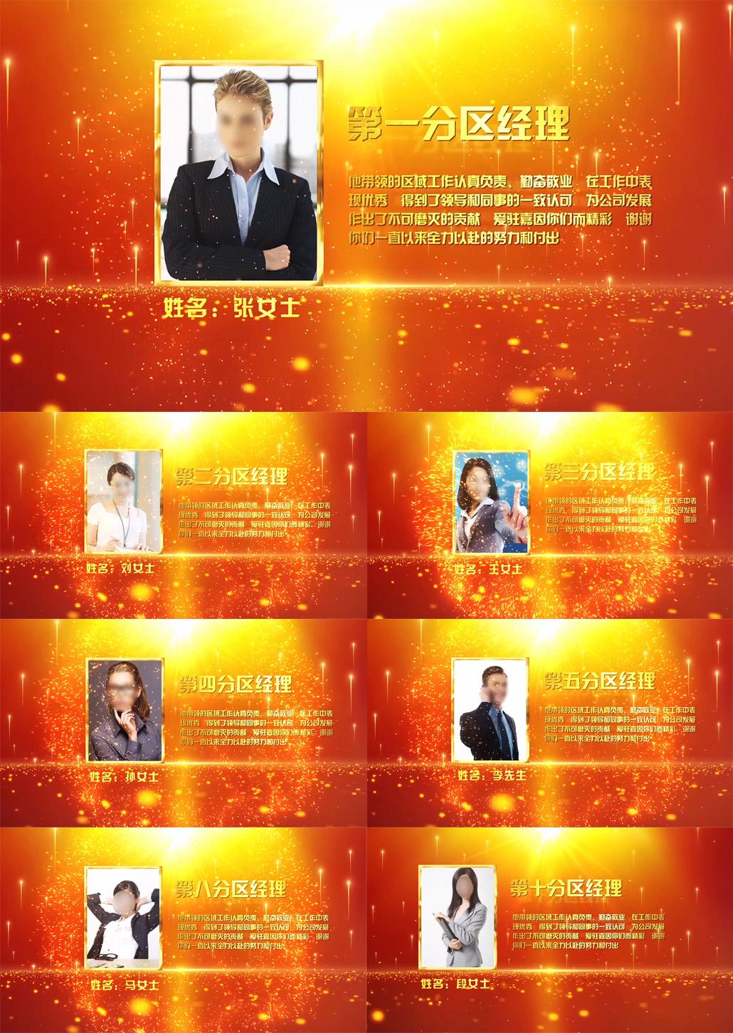 企业年会颁奖表彰人物介绍AE模板