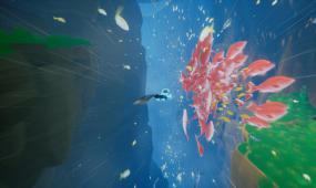 卡通海底世界鱼群游动