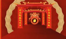 2019金色喜庆剪纸猪年年会片头