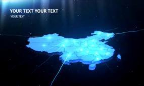 蓝色科技光线汇聚发射中国地图AE模板