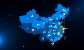 中国地图地理位置 科技蓝省城市发射中国世界地图AE模板