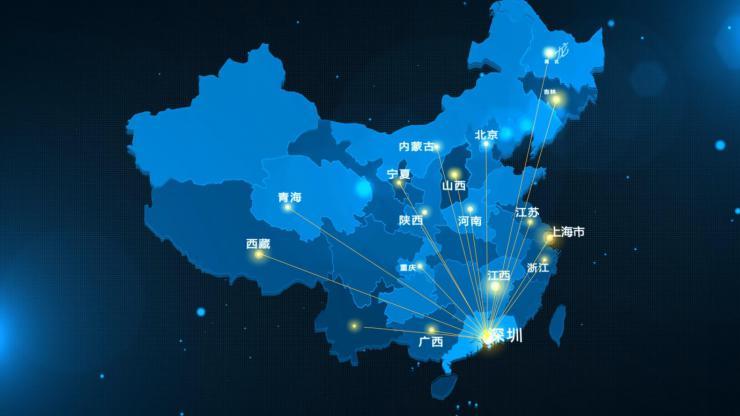 AE地图模板地理位置科技蓝深圳发射.