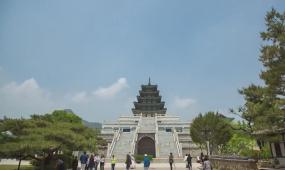 韓國韓服古建筑皇宮古城門奧運會場館電音節夜景延時