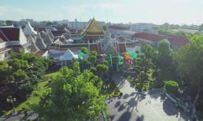 泰国电音节市场传统服饰寺庙雕像僧人