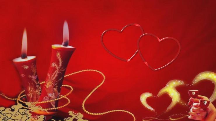婚庆、情人节、蜡烛燃烧、浪漫背景素材