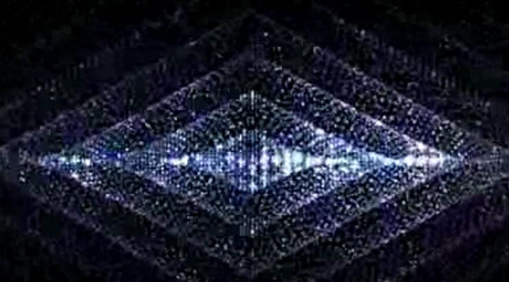菱形蓝色粒子灯光背景视频