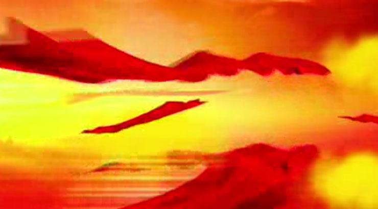 震撼開場飛舞喜慶紅綢開場視頻素材