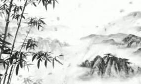 水墨花瓣飞舞山水中国风视频素材