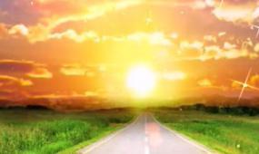 一路阳光唯美日出黄昏舞台背景视频