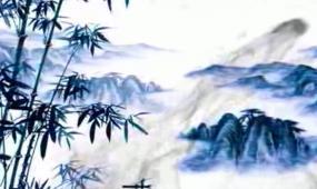 中国风水墨背景长画卷戏曲