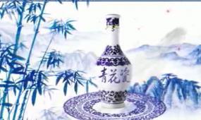 中国风水墨青花瓷长画卷视频素材