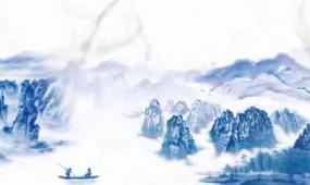 中国风蓝色山水画长画卷视频素材