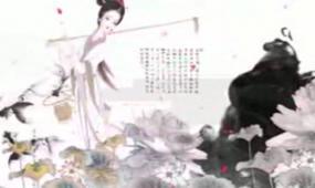 古典美女水墨画视频素材
