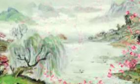 中国风水墨山水画花瓣唯美视频素材