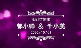 紫色大氣花瓣飄落婚禮定屏