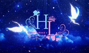 蓝色粒子星空天使飞舞婚礼定屏