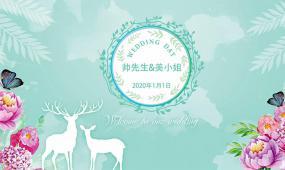 蓝绿色清新麋鹿抖音搞笑快闪婚礼视频