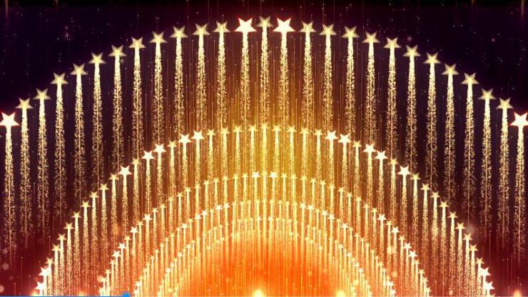 金色霓虹节动感开场舞台背景模板