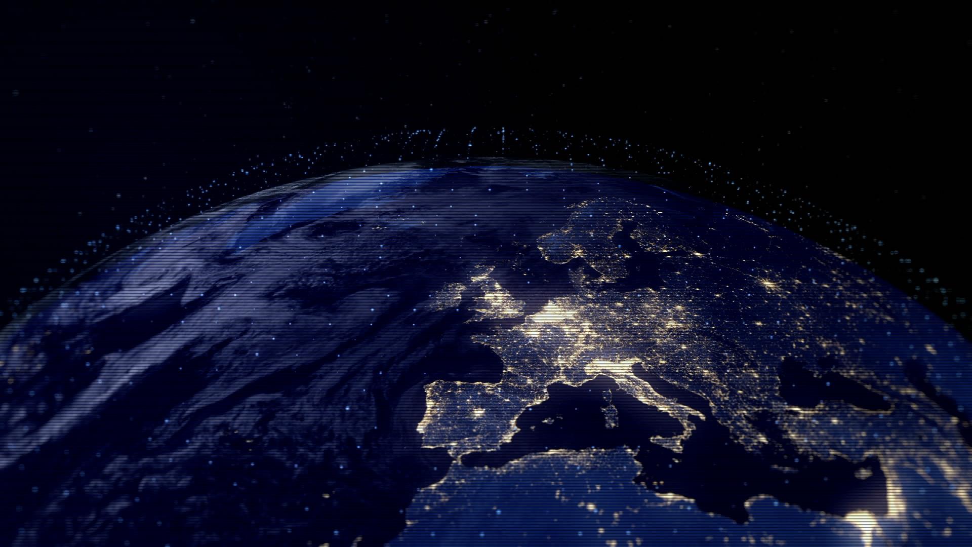 科技感地球旋转大屏幕循环动态背景视频素材