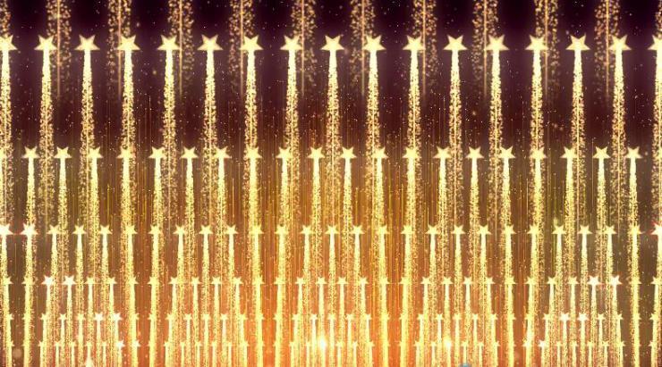 金色霓虹节奏五角星旋转放射背景素材