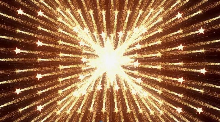 五角星变换闪烁放射背景素材