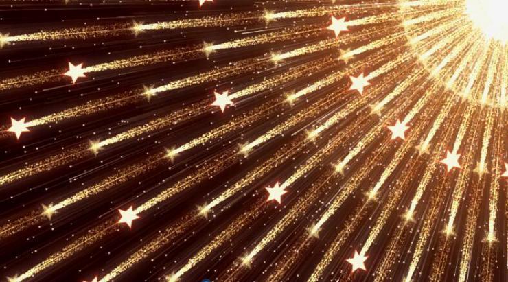 金色光源斜散射星辉开场视频素材