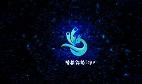 蓝色光效logo演绎片头