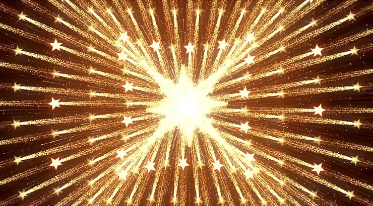 金色霓虹节奏动感变换闪烁方形放射