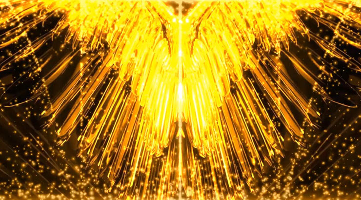 金色粒子奢華翅膀舞臺背景