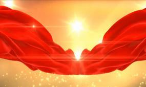 国庆节大气红绸金色视频背景