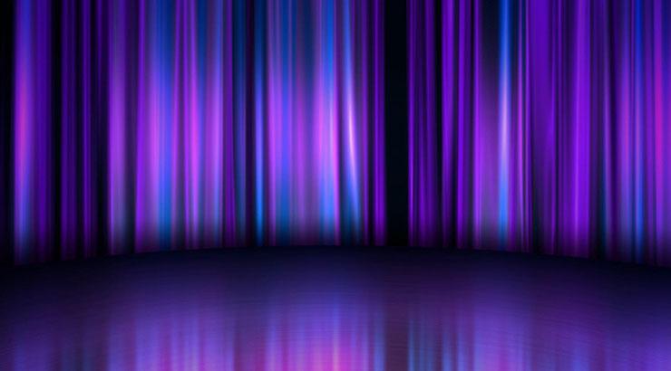 晚会婚礼演出舞台紫色幕布光影背景
