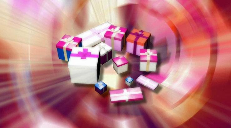 多彩旋转礼物盒