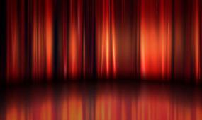 晚会婚礼演出舞台红色幕布光影背景