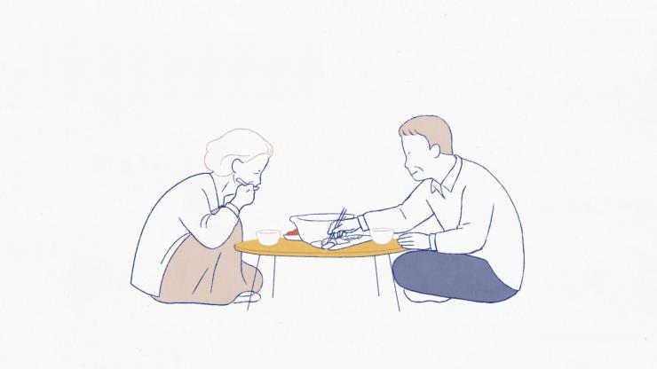唯美水彩動畫兩人三餐四季渡過時光幸福家庭